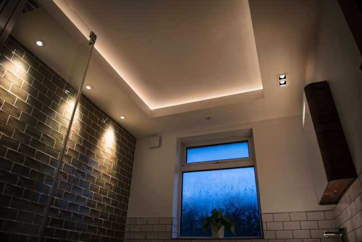 Drop ceiling with hidden lighting